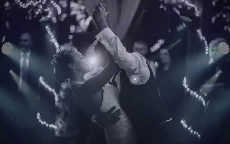 Couple dancing to Austin wedding band